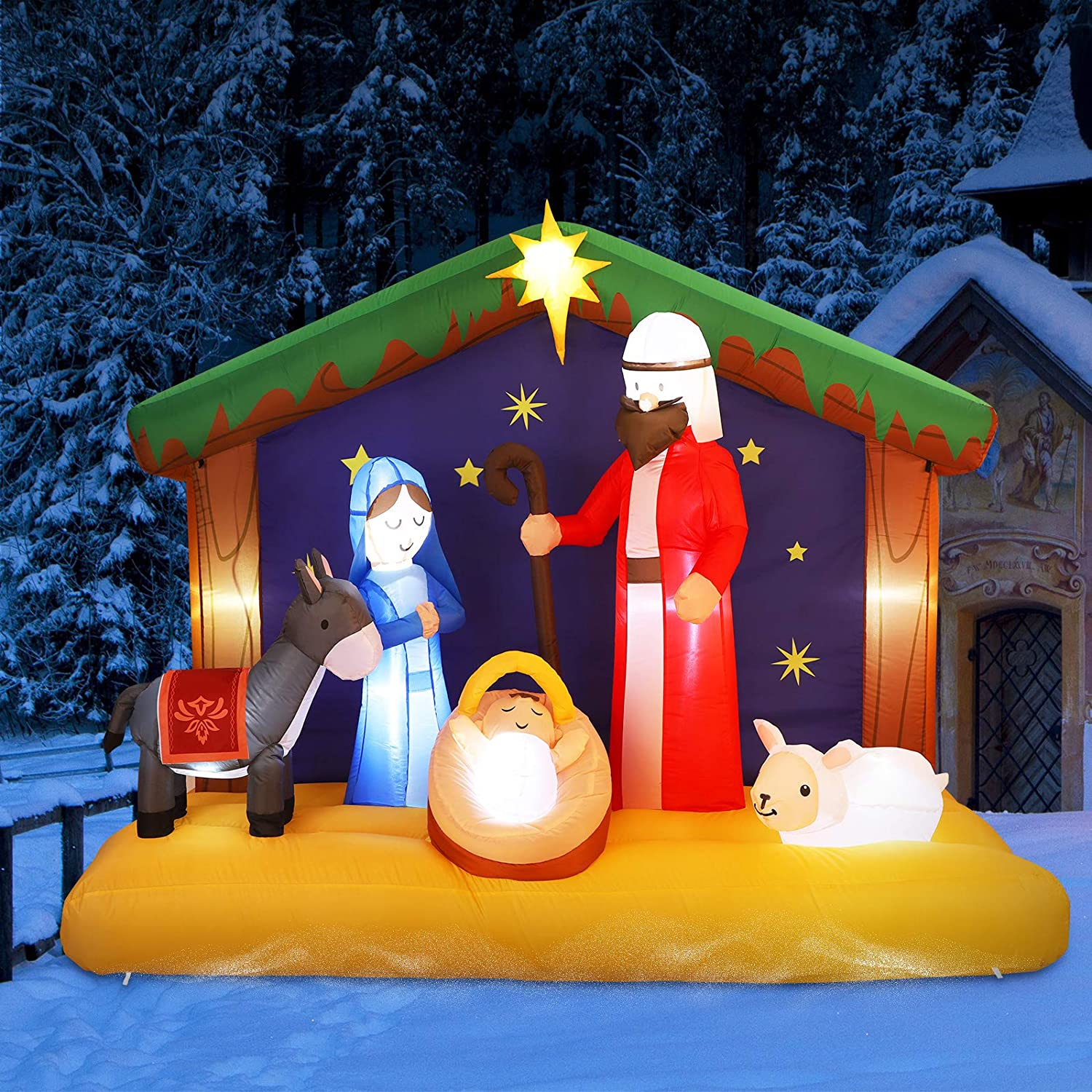 Christmas Inflatable Nativity Scene, Blow Up LED Light Christmas Inflatable Jesus for Garden Yard Lawn Decoration