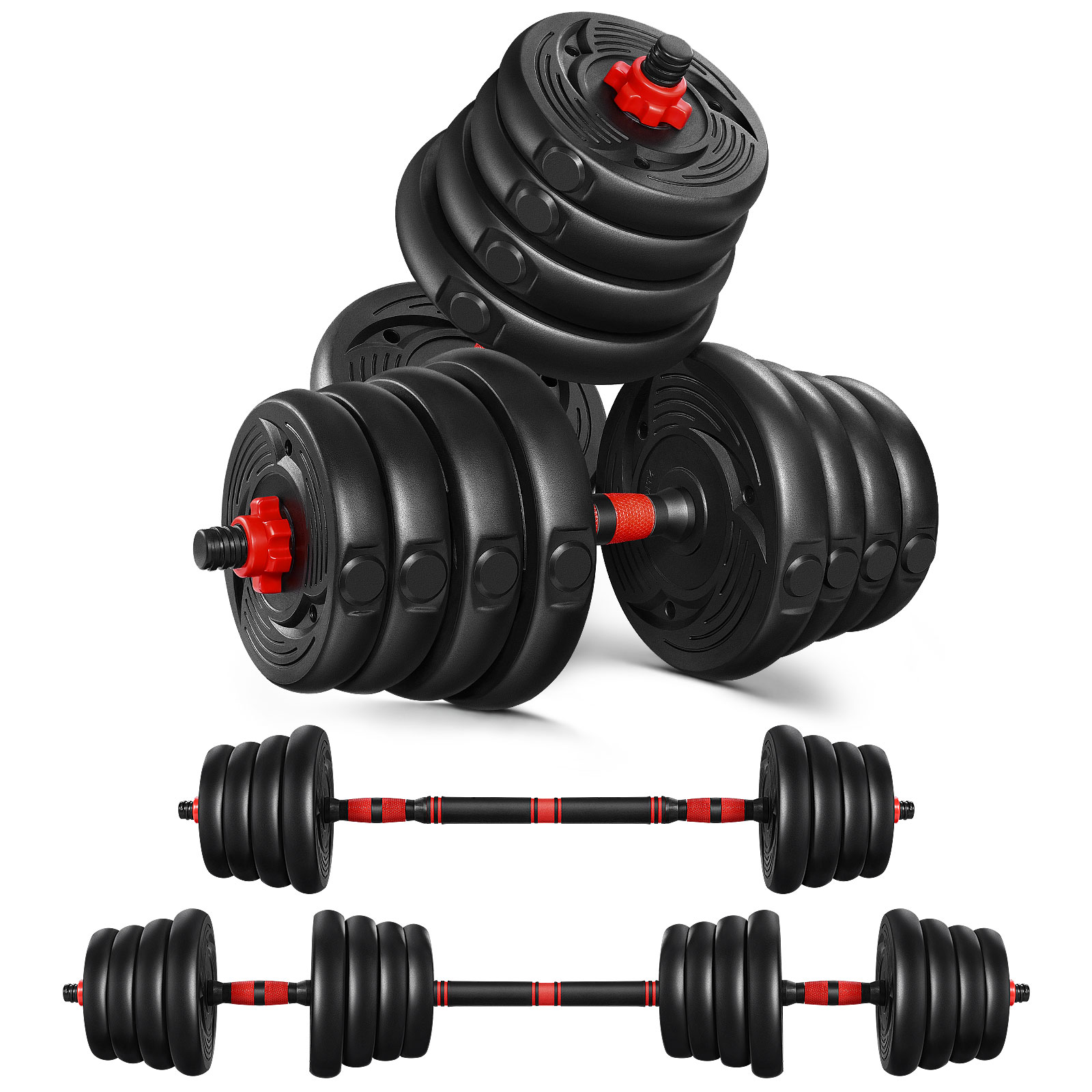 ETEREAUTY Dumbbells Set, 3 in 1 Adjustable Solid Weight Dumbbell Set-5/10/15/20/30KG, Hexagon Nut-Safe and Durable Dumbbells with Connecting Rod Anti-Slip for Women Men Fitness,Home Gym Training