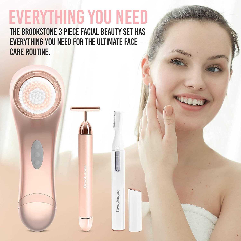 Facial Cleansing Brush - Brookstone 3-IN-1 Facial Care Set