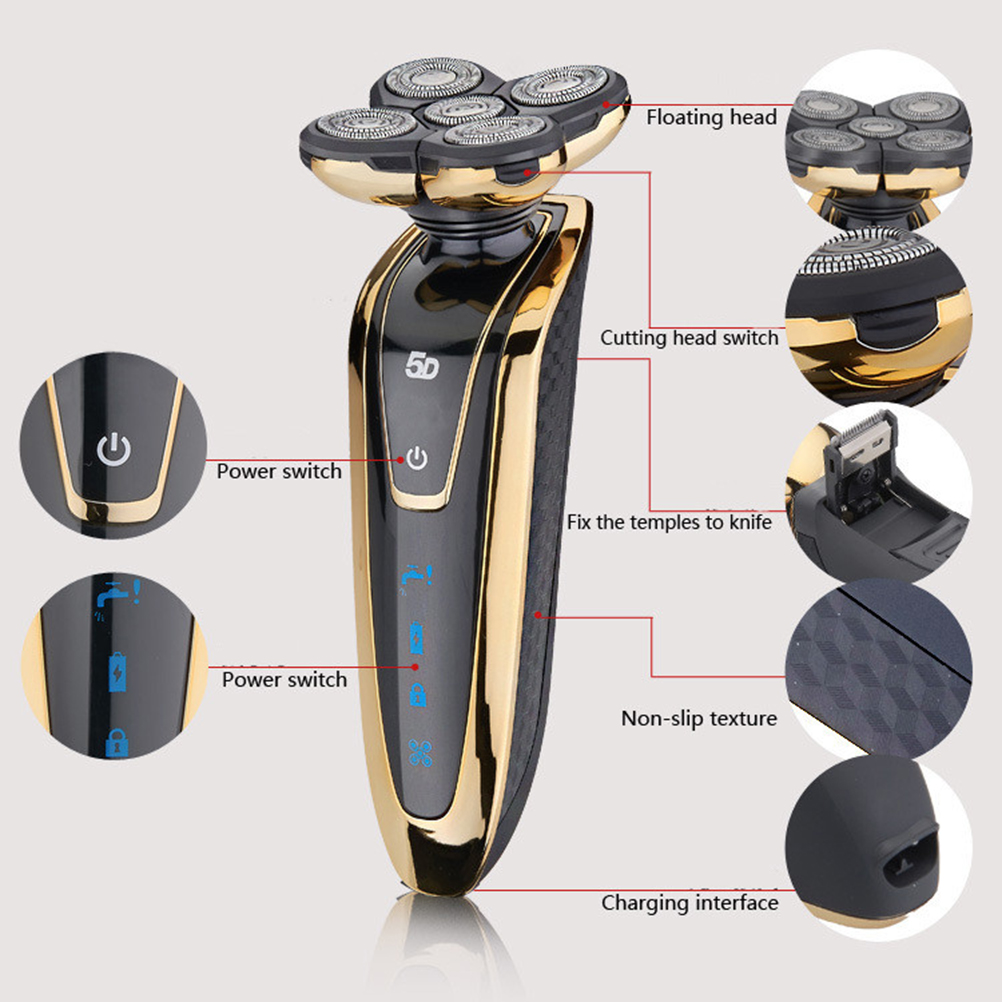 5 Floating Rotating Head Washable Electric Beard Shaver Razor Rechargeable Shaver with US Plug(Golden)