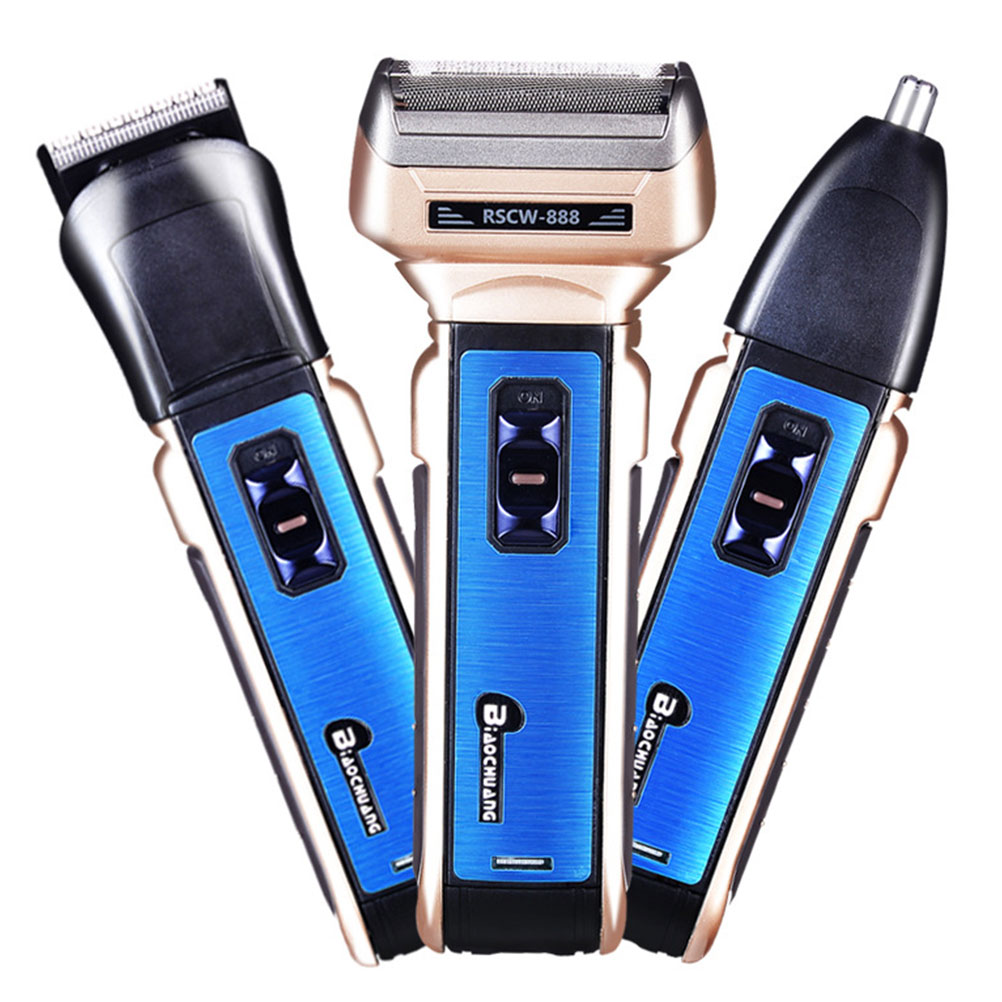1Pc Usb Charging Electric Beard Clipper Washable Head Multifunction Razor Hair Trimmer With Battery (Blue)