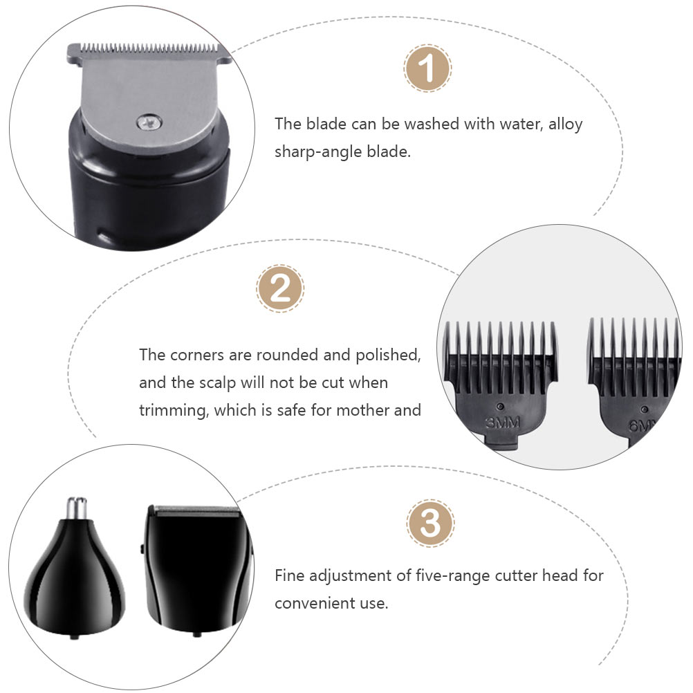 Minkissy Hair Clipper Set With 4 Comb Guides Haircut Trimmer For Beard Head Body And Face Trimming Grooming Clipping (Black)