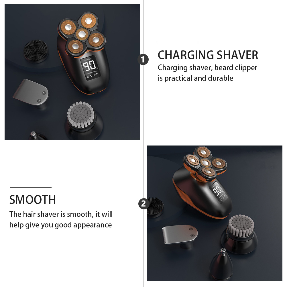 PIXNOR Rechargeable Shaver for Bald Men, Waterproof Five- headed Razor LED Display Electric Trimming Tools (Black)