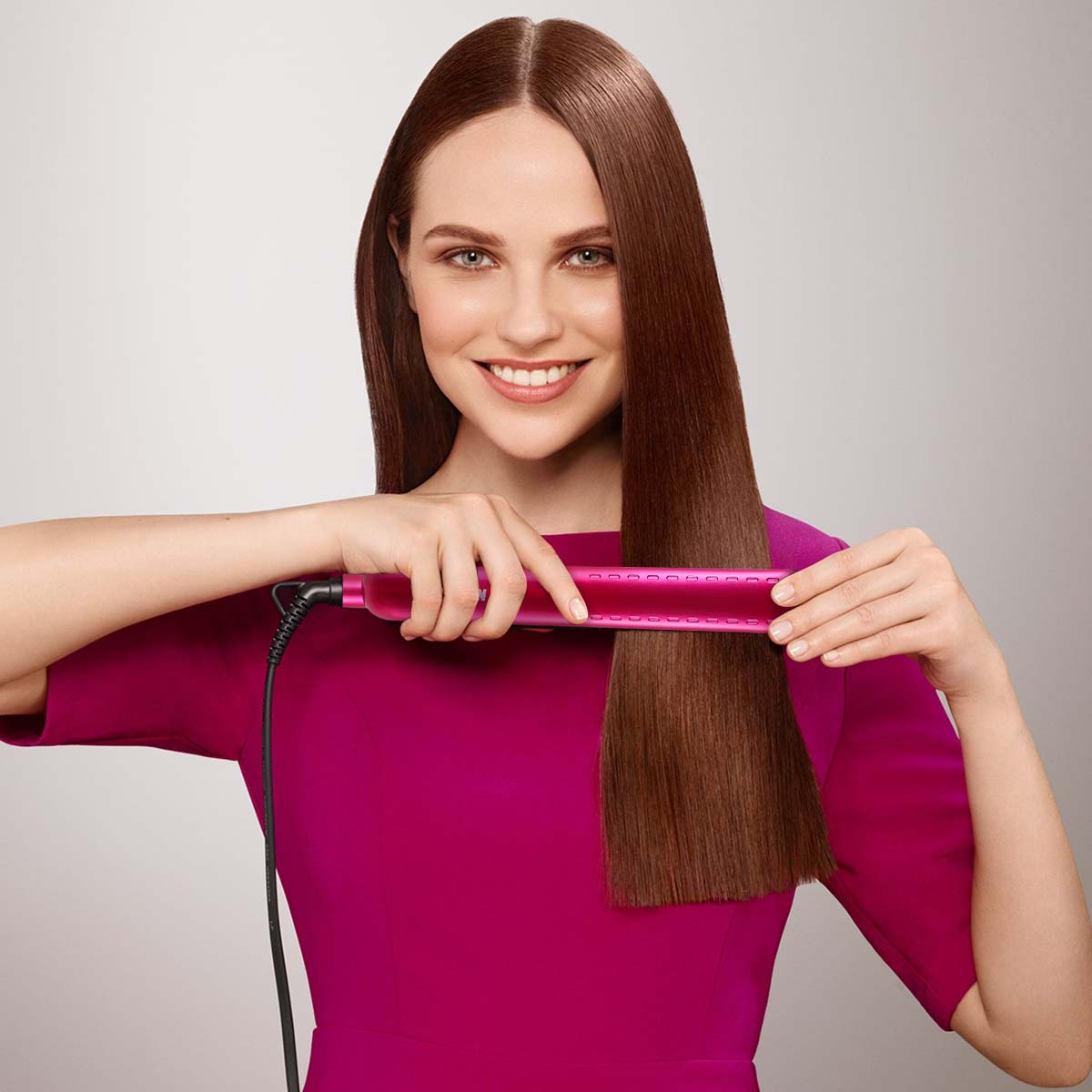 Solustre Hair Straightener Curler Ceramic Plates Flat Iron Hair Styling Tools with Adjustable Temperature for All Hair Types
