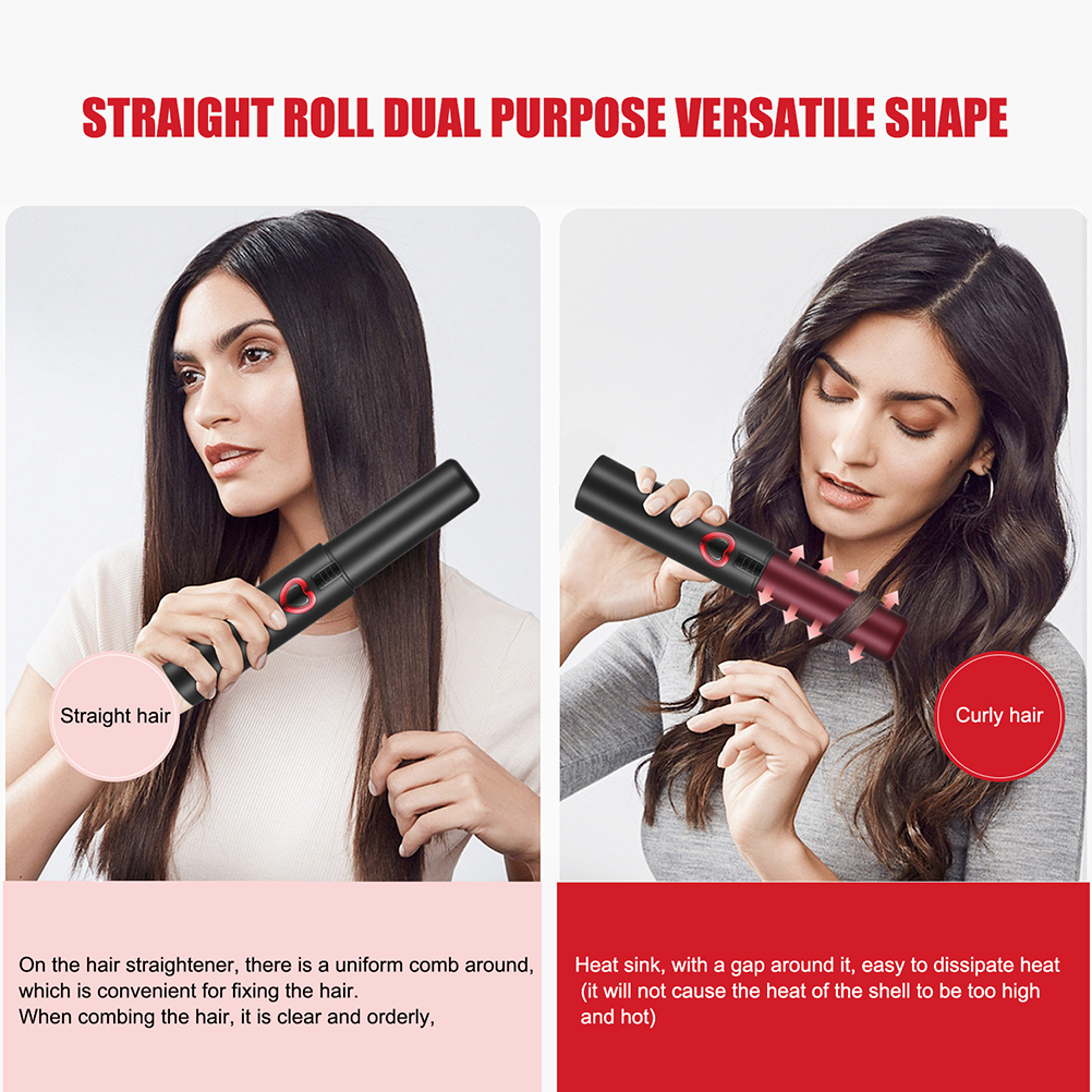 Beaupretty Cordless Hair Straightener Cordless Flat Iron 2 in 1 Straightening and Curling Iron