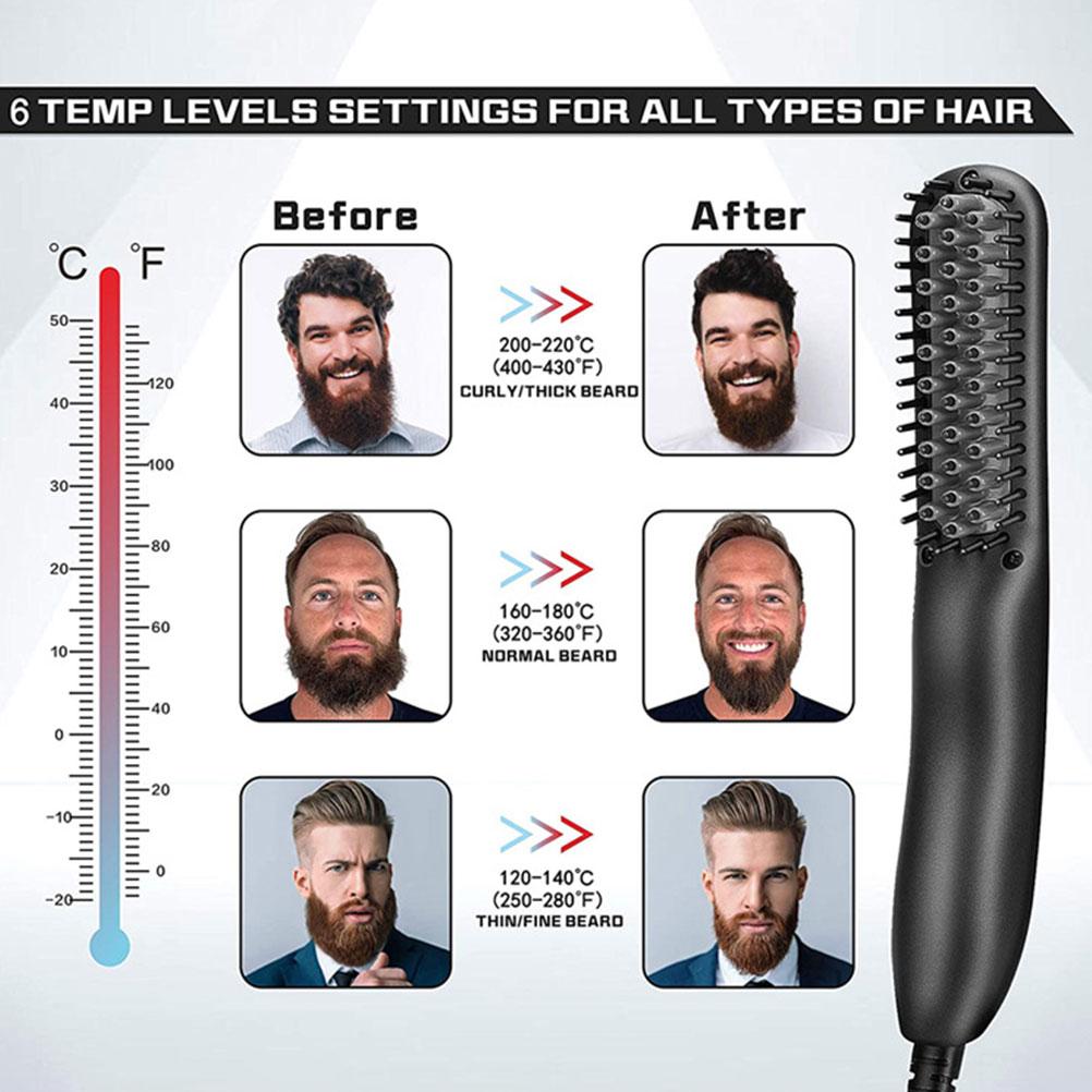 Hair Straightener Brush with Built- in Comb Anti Scald Ceramic Ionic Heating Hair Straightening Brush