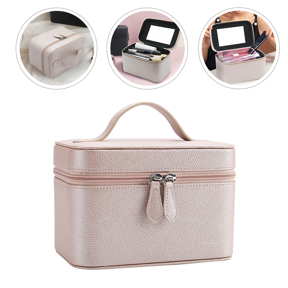 Travel Makeup Case Portable Toiletry Bag Cosmetic Pouch Makeup Train Bag Organizer for Cosmetics Brushes Artist Jewelry Pink