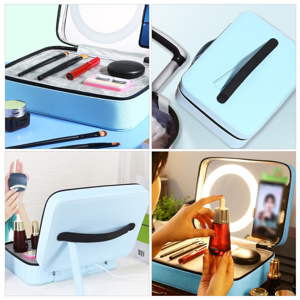 Makeup Case Organizer Large Cosmetic Bag Set with Mirror Live Streaming Ring Light Phone Holder Portable Multi Purpose(Blue)