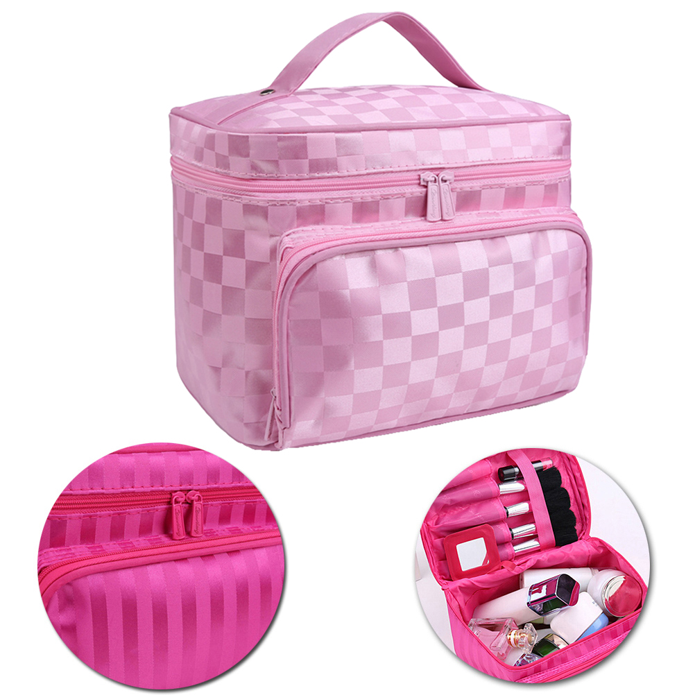 Portable Cosmetic Bag Waterproof Stripe Toiletry Bag for Travel (Pink)