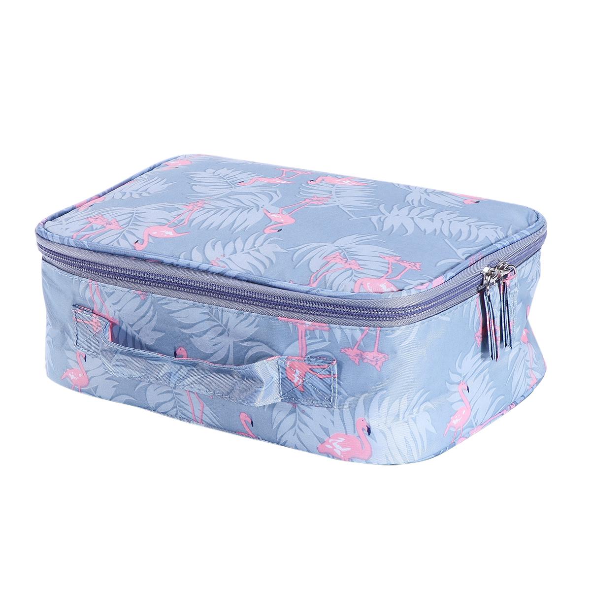 Portable Cosmetic Travel Bag Makeup Brush Organizer kit (Gray Flamingo)