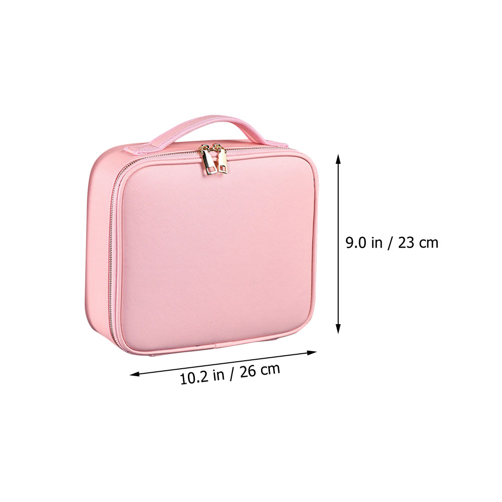 Beaupretty Travel Makeup Case PU Leather Cosmetic Bag