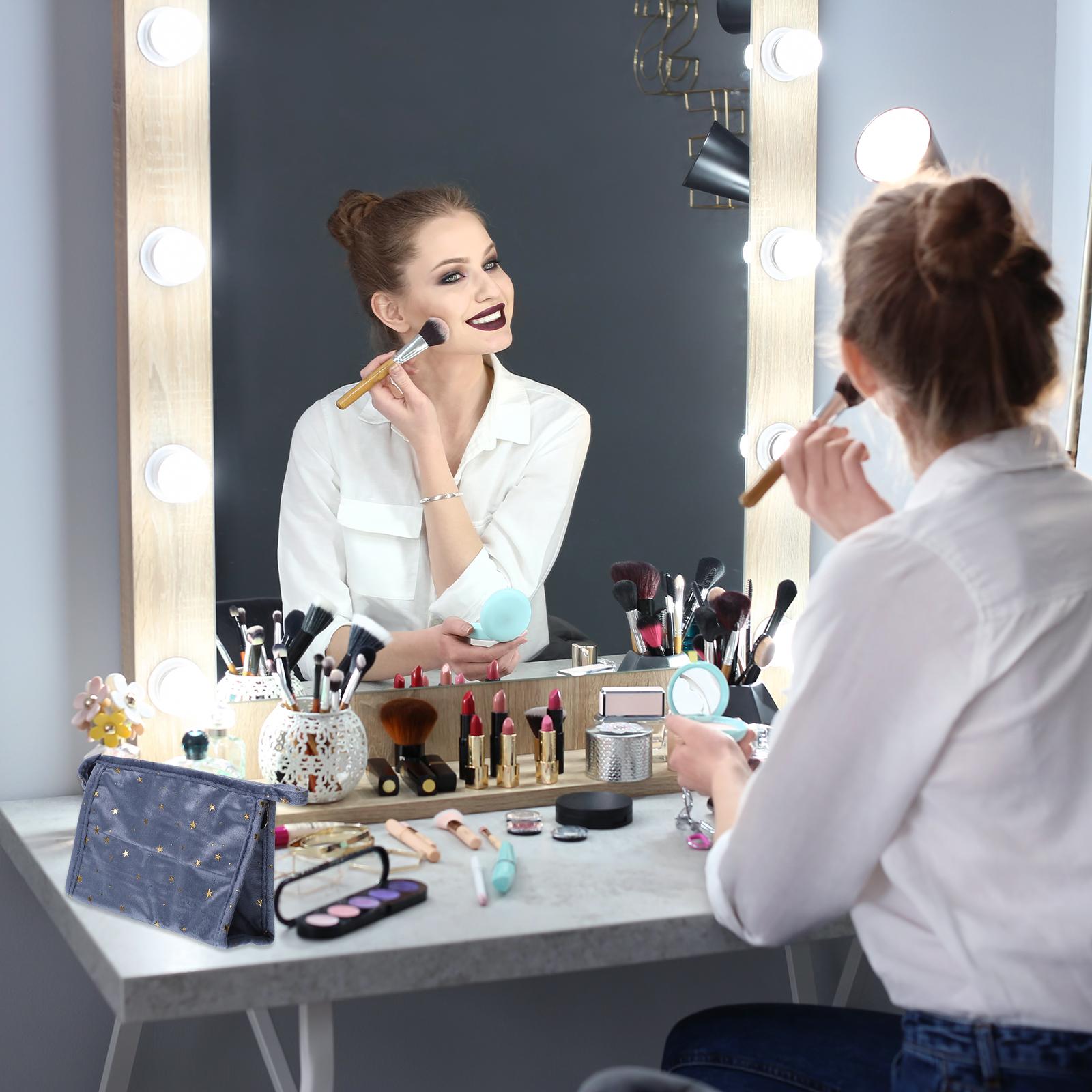 Cosmetic Bag for Women, 2pcs Plush Travel Makeup Storage Pouch Portable Makeup Bag