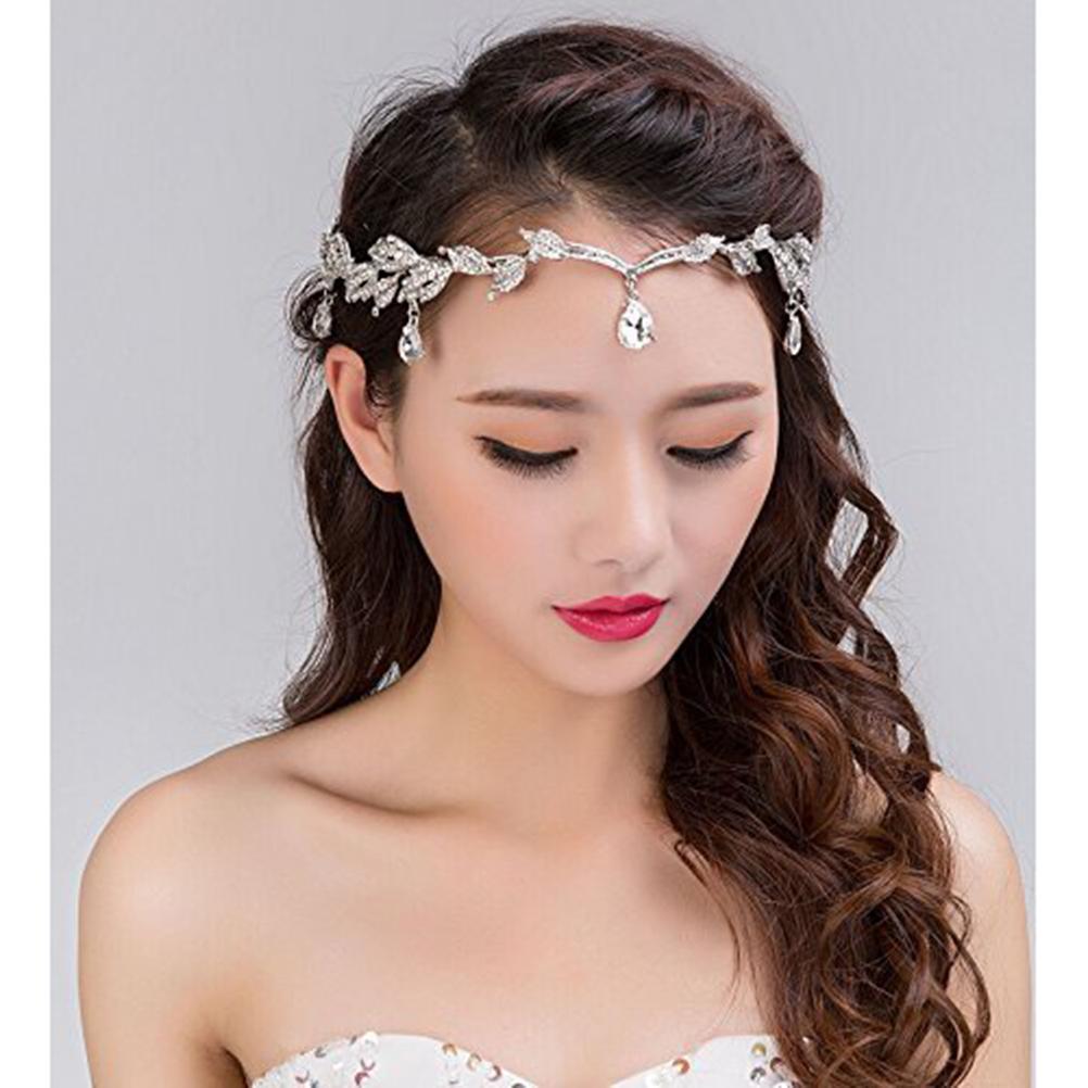 Rhinestone Leaf Wedding Tiara Headband Forehead Headband Crystal Pendent Tiara Headband for Wedding Prom Birthday Party