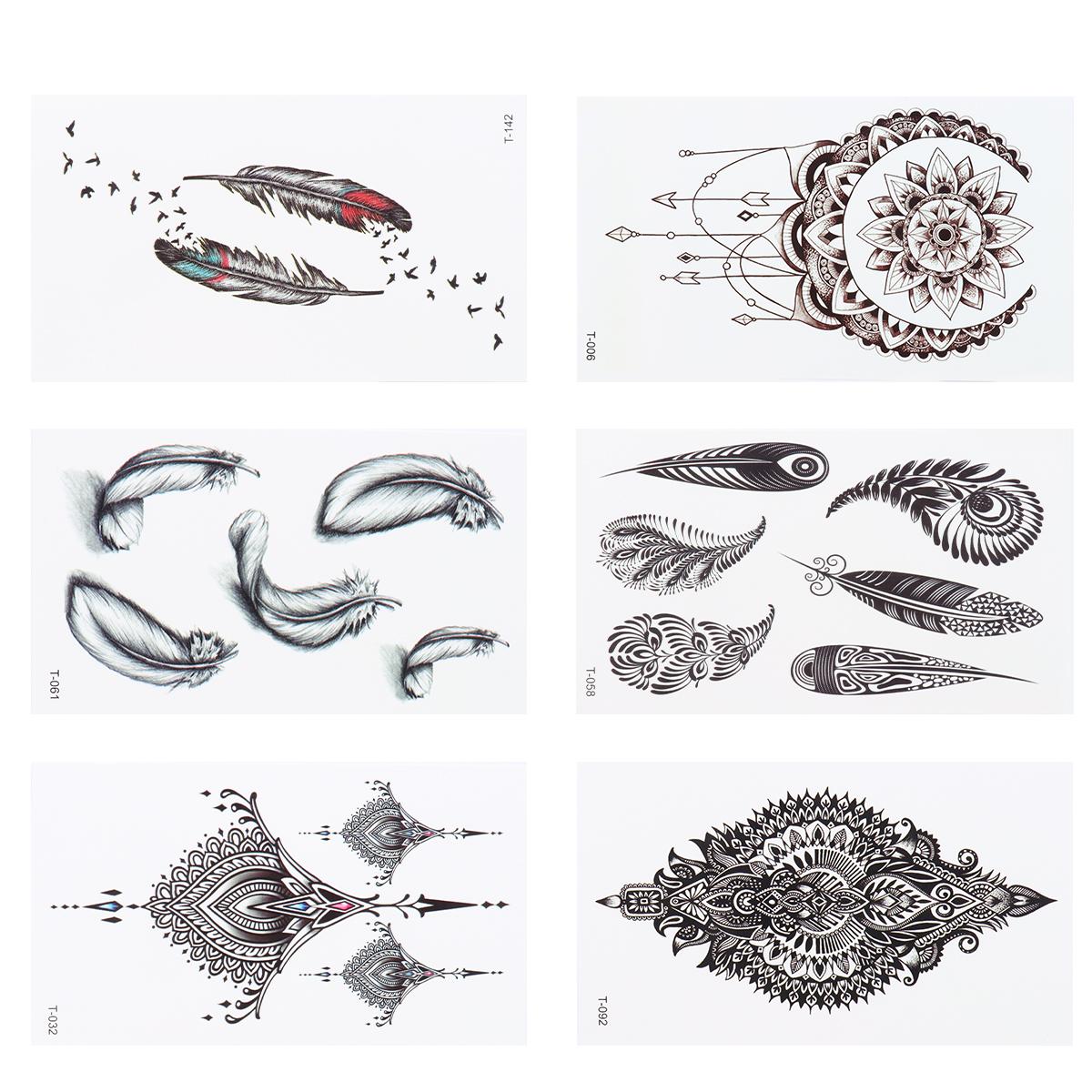 30 pcs Temporary Tattoos Waterproof Black Decorative Mandala Flower Party Favors Body Art Sticker for Women