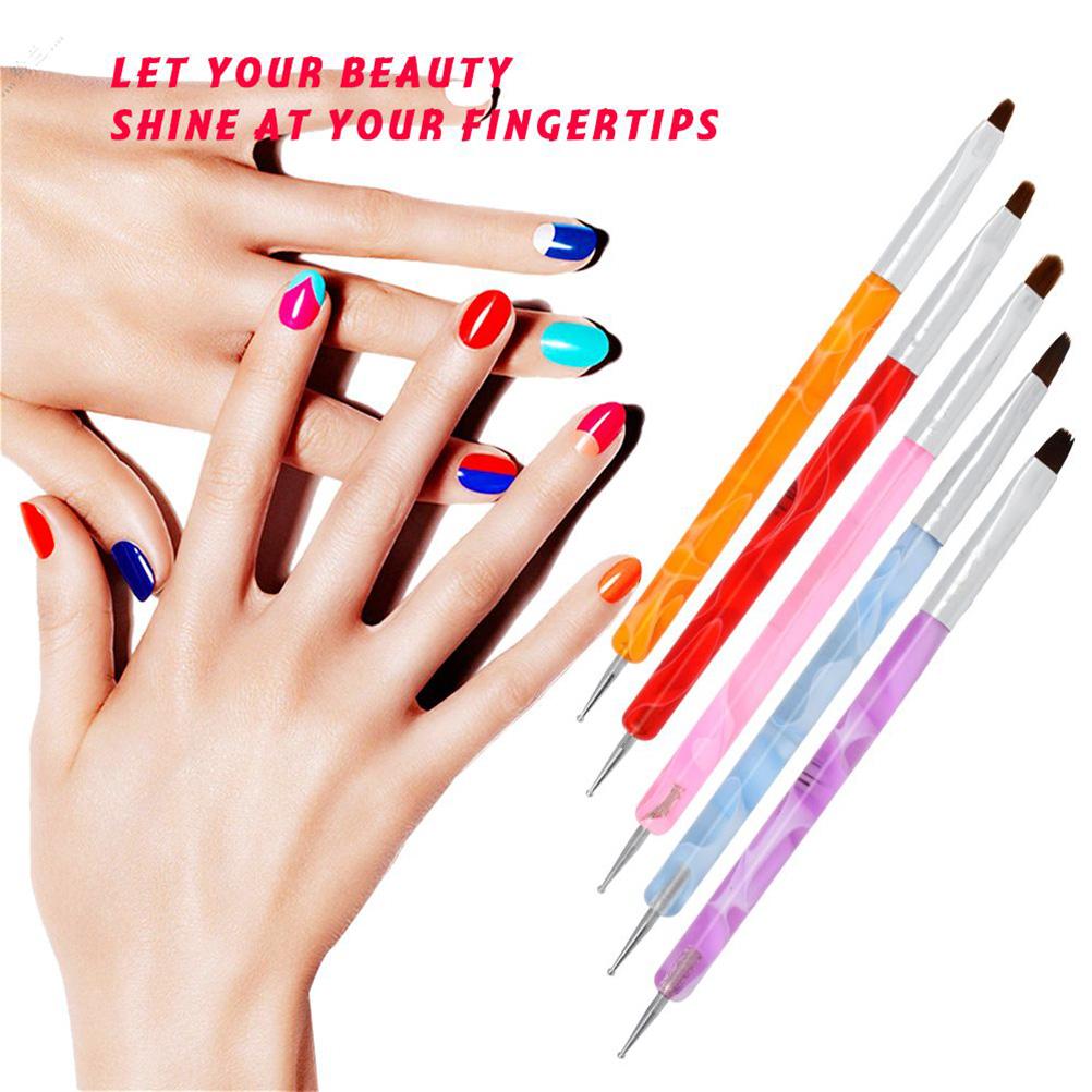 5pcs Dotting Pen Tool Nail Art Double End Nail Brush Nail Art Point Drill Drawing Brush Pen for Salon and Home DIY Manicure