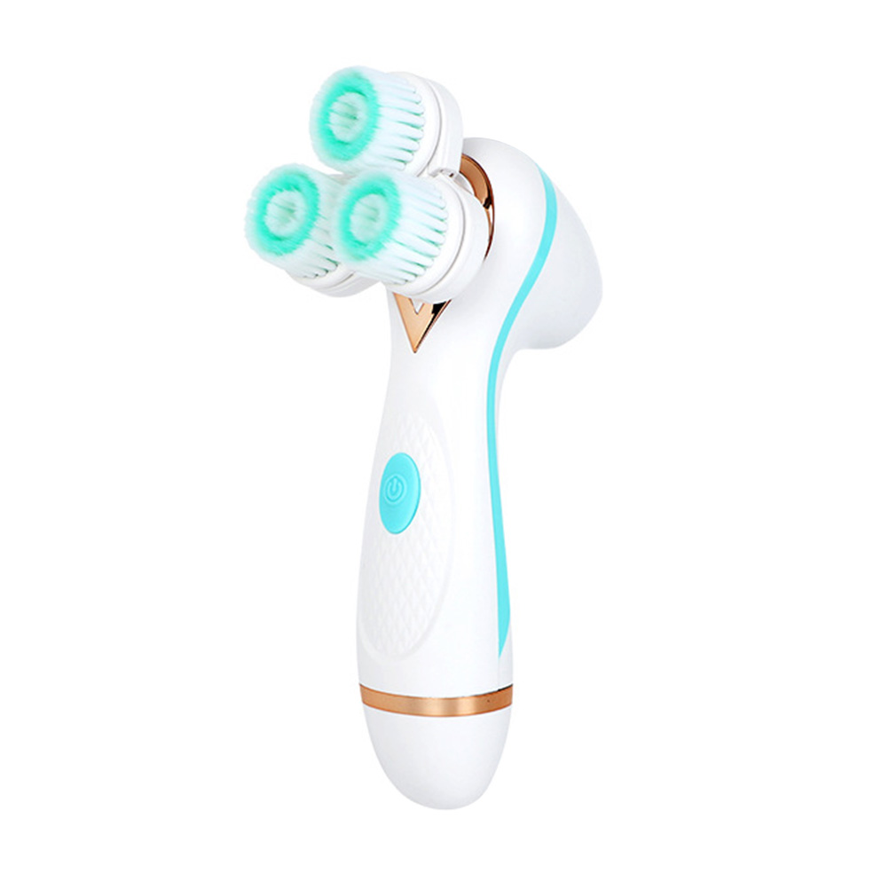 Electric Face Cleaner Electric Facial Brush Silicone Facial Cleansing Instrument Face Pore Cleaner (Blue)