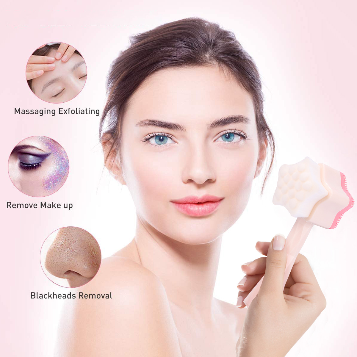 Silicone Face Scrubbers Star Shaped Exfoliator Brush with Handle Face Cleansing Brush for Pore Cleansing Removing Acne Blackheads (Pink)