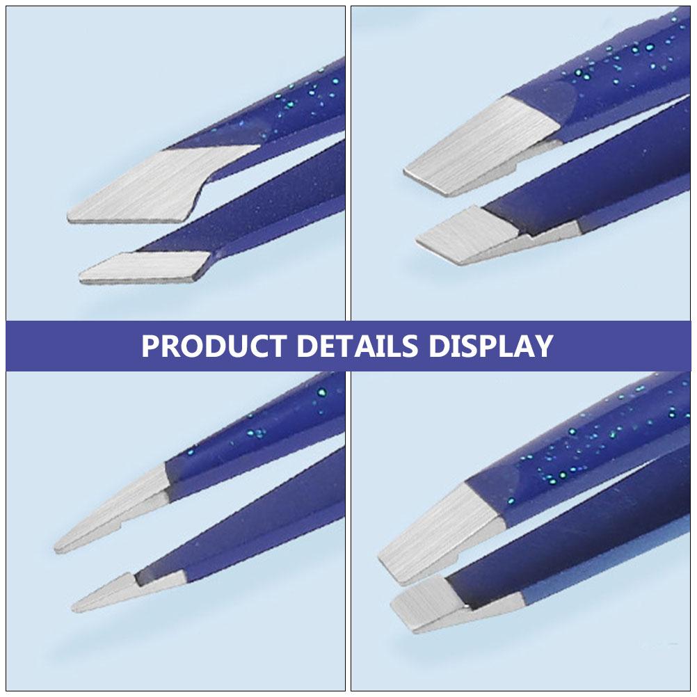 Glitter Eyebrow Tweezers Stainless Steel Makeup Tweezers Clip with Cover 4Pcs