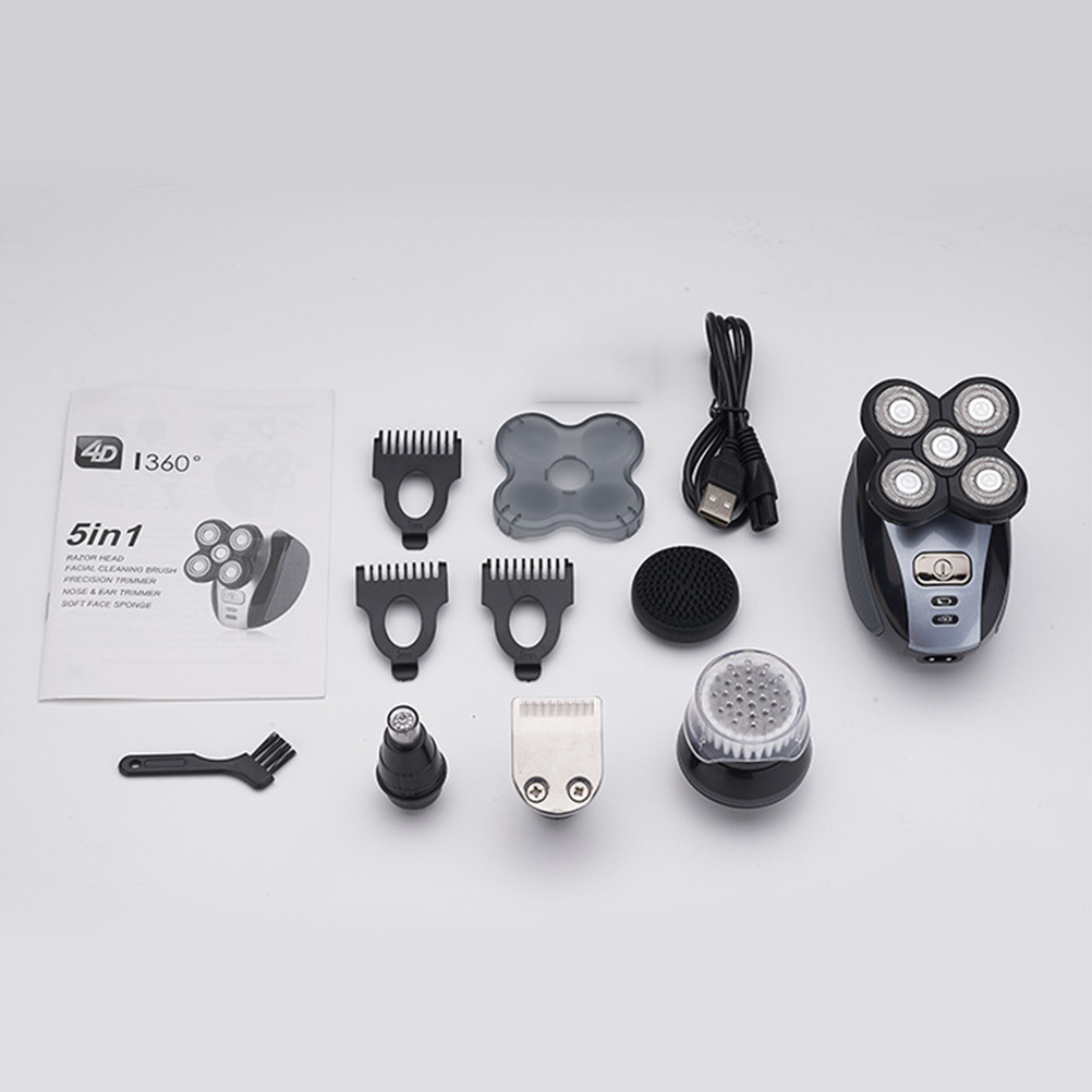 1 Set Electric Shavers for Men 5 in 1 Bald Head Shaver USB Charging Wet Dry Rotary Shavers