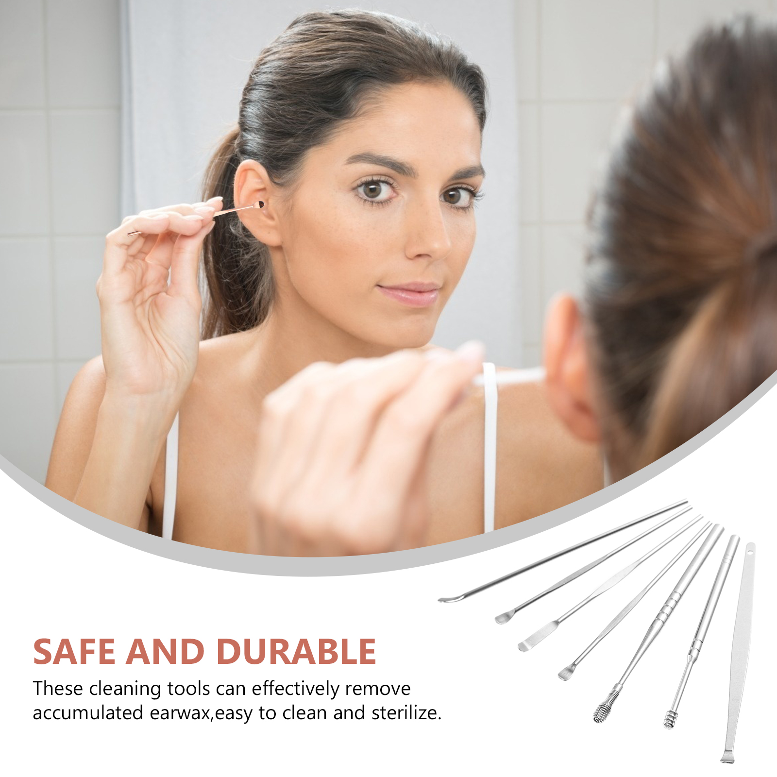 Ear Wax Removal Tool with Organizer Bottle Stainless Steel Ear Wax Removal Kit Ear Spoon for Adults 1 Set of 7Pcs(Silver)