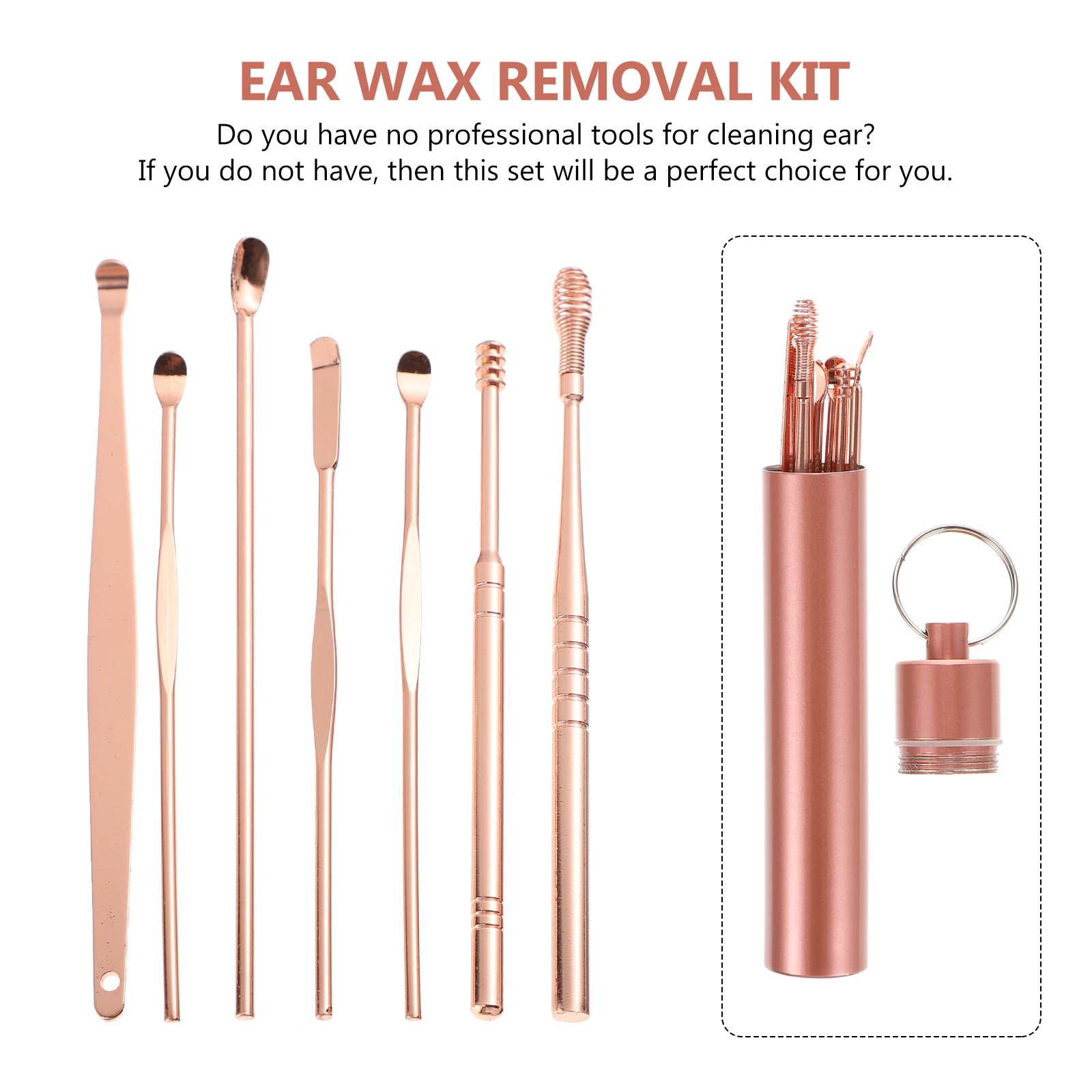 7Pcs Ear Pick Earwax Removal Kit,Portable Stainless Steel Ear Wax Removal Tool,Soothing & Anti-Itch Ear Cleaner Tool with Detachable Keychain Box,Reusable Ear Cleaning kit for Family-Rose Gold