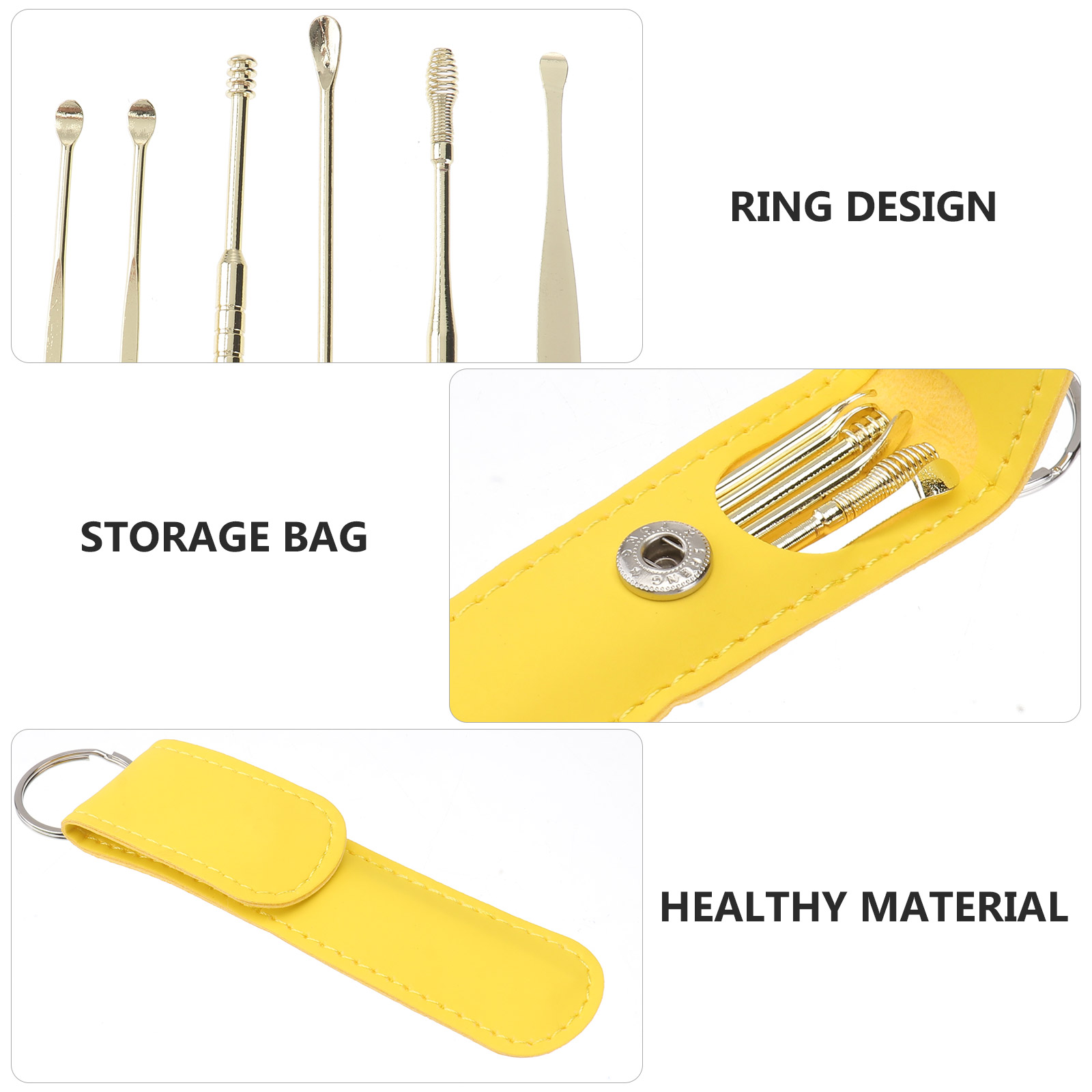 Ear Wax Removal Kit,Portable 6-in-1 Ear Pick Tools,Ear Cleaning Kit for Home and Travel,Reusable Ear Curette for Children and Adults(Yellow)