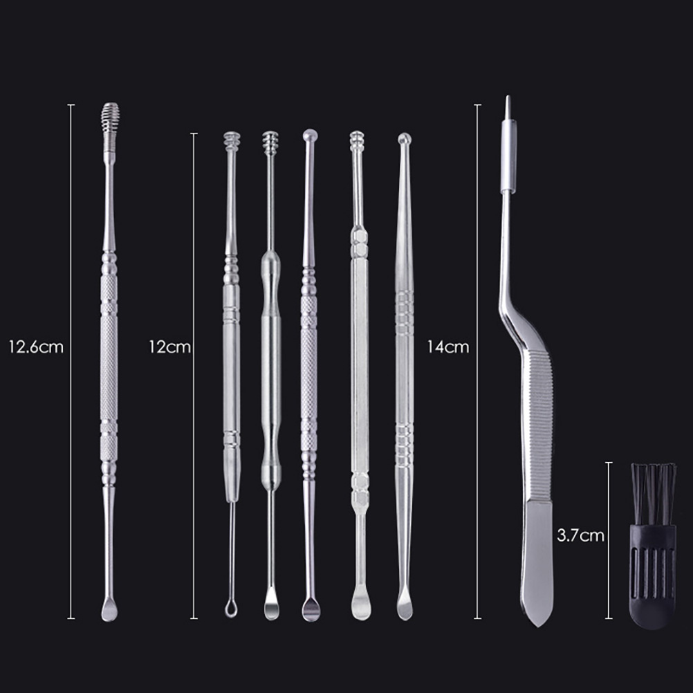 9Pcs Ear Wax Removal Tool Stainless Steel Ear Spoons Ear Wax Remover Curette with Storage Box Tweezer and Cleaning Brush for Ear Cleansing Tool Silver