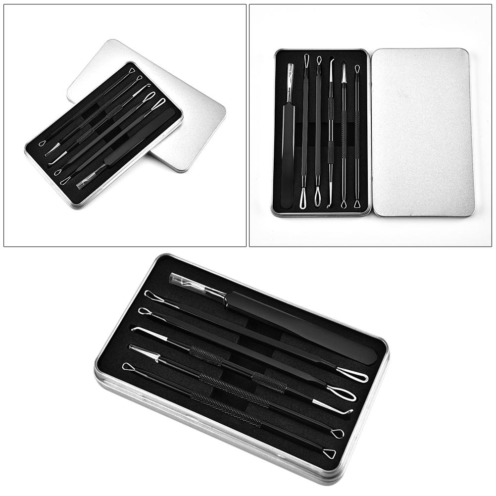 6Pcs Stainless Steel Blackhead Remover Kit Acne Removal Kit Beauty Tools for Women Men Face