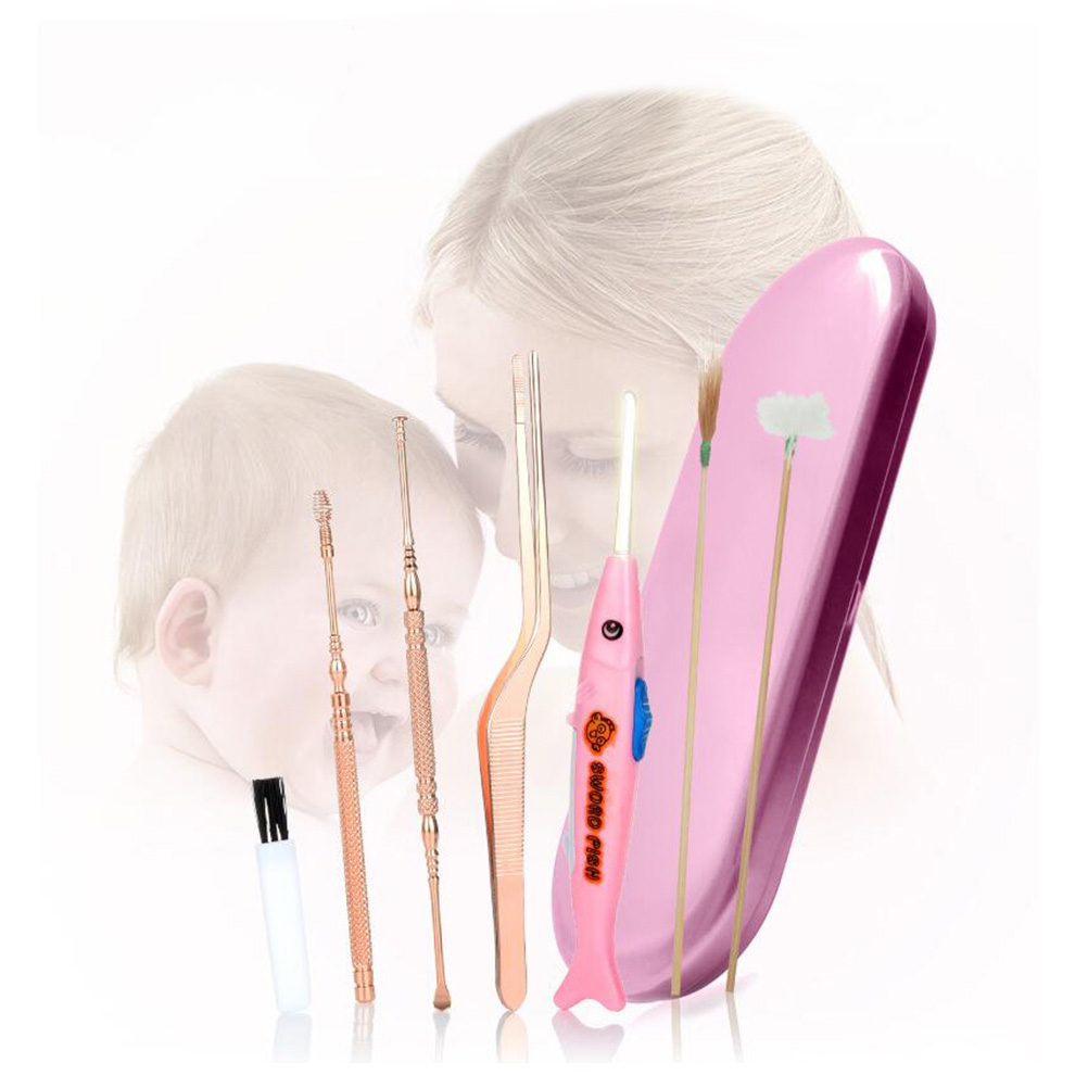 7Pcs Ear Cleaning Tool Set Stainless Steel Ear Pick with Light Ear Feather Stick Ear Scoop Ear Wax Removal Cleaner Kit Rose Gold