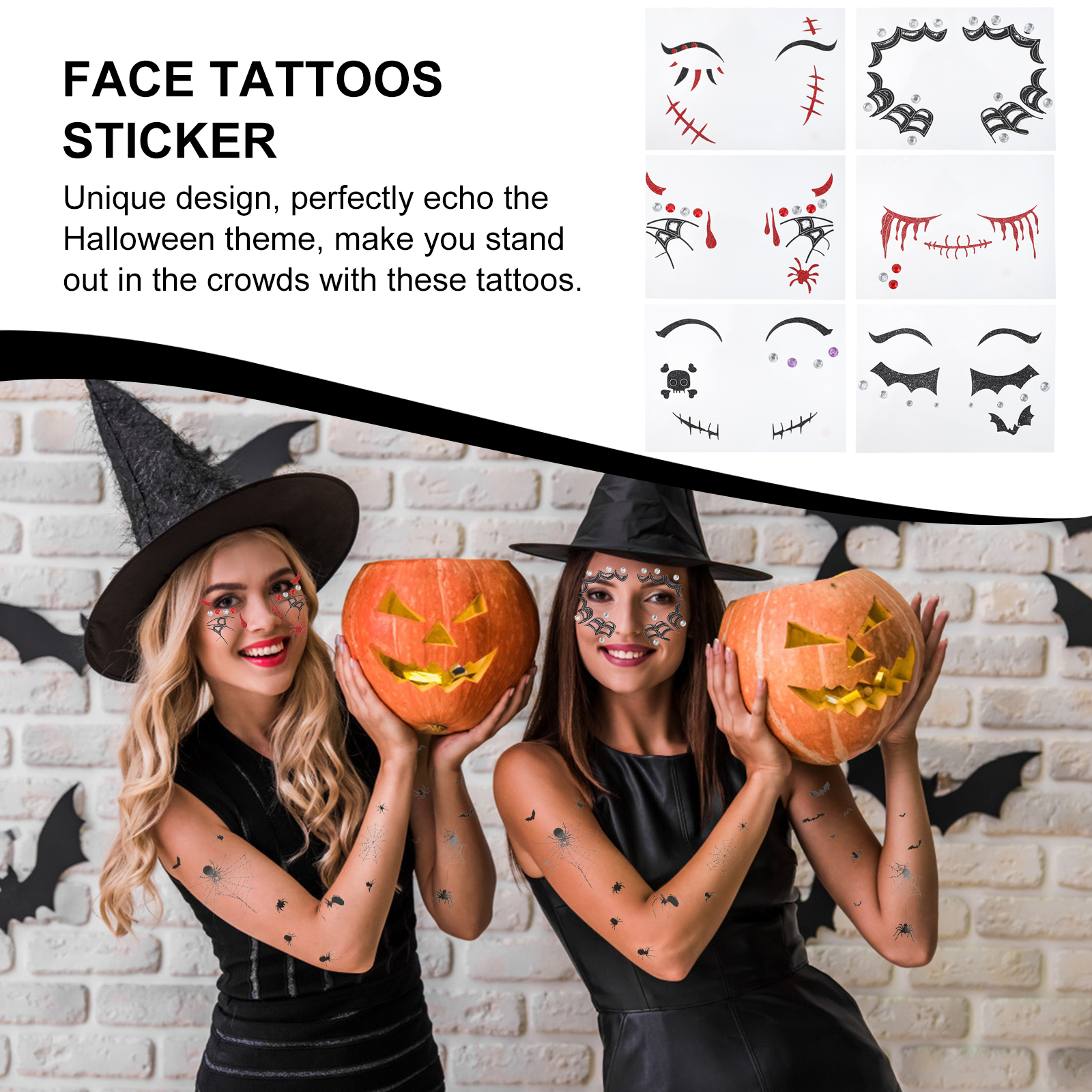 6 Sheets Face Tattoos Sticker Halloween Makeup Tattoo Decoration Tattoo for Festival Party
